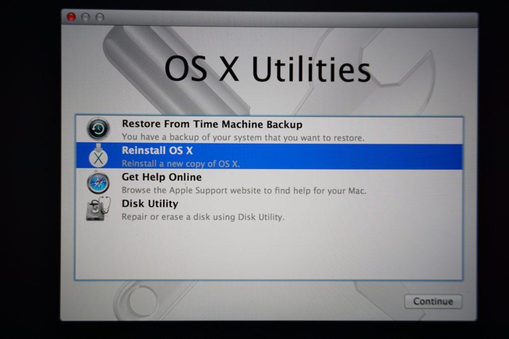OS X Utilities - Reinstall macOS
