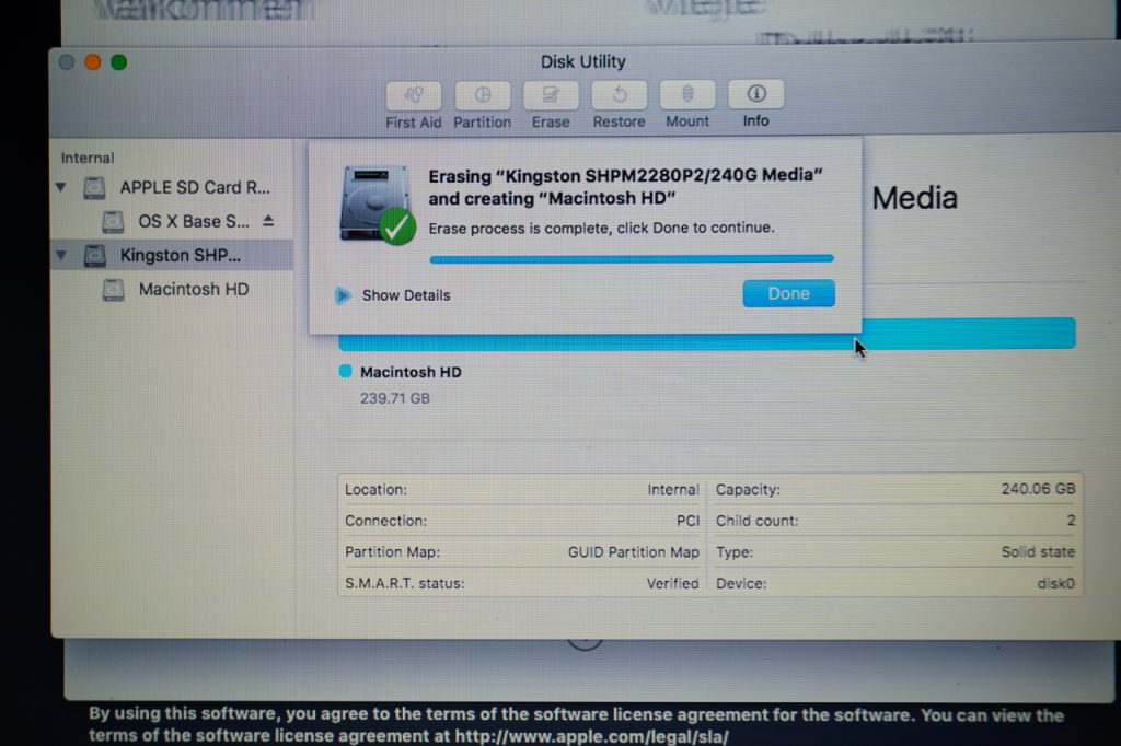 Replacement SSD Erase in Disk Utility