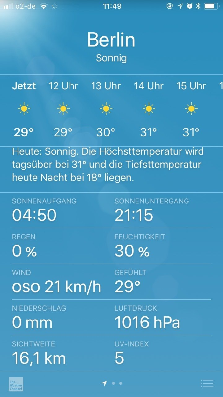 Summer preparation: Show UV Index in the iOS weather app