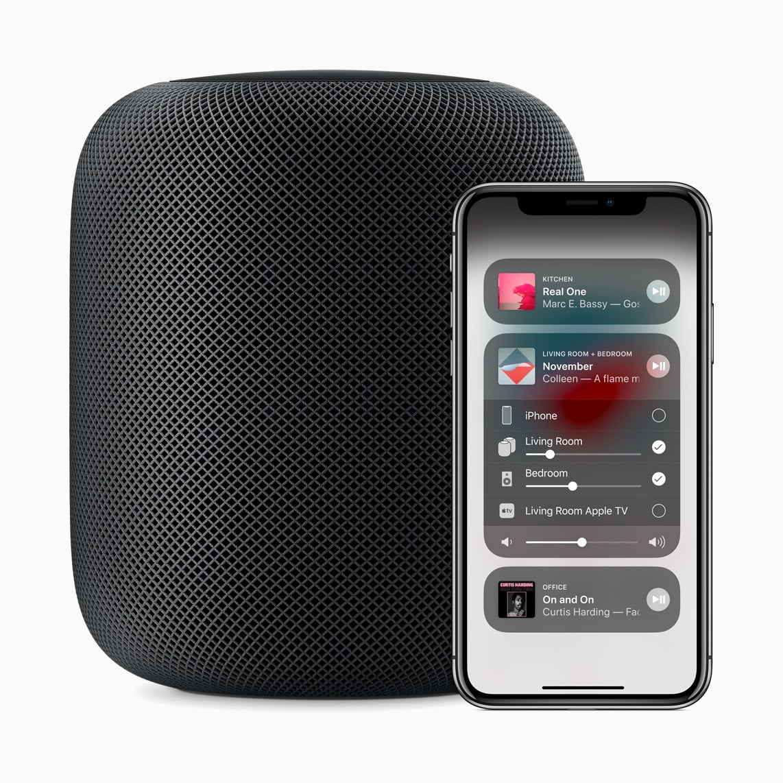 iOS 11.4 HomePod iPhone x lockup front 05292018