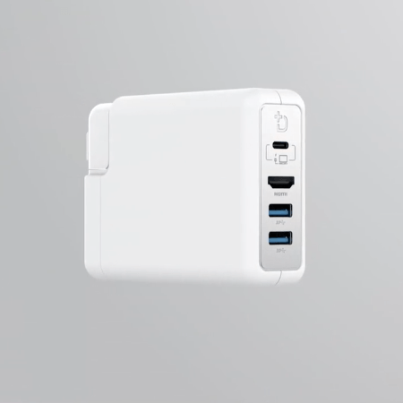 DockCase Adapter: Pluggable USB hub and HDMI output for MacBook power adapter