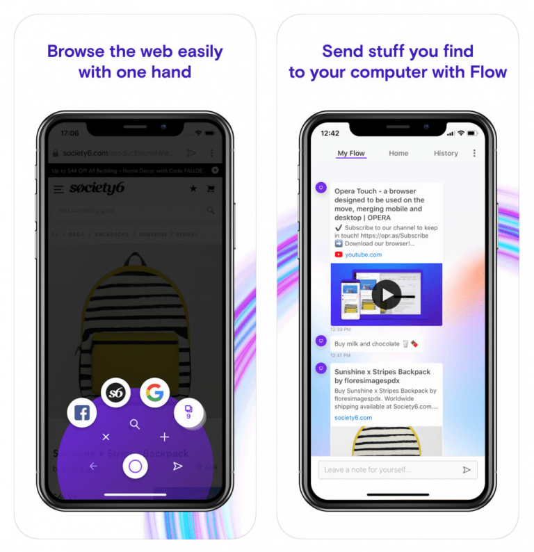 Optimized for one-hand operation: Opera touch Browser for iOS