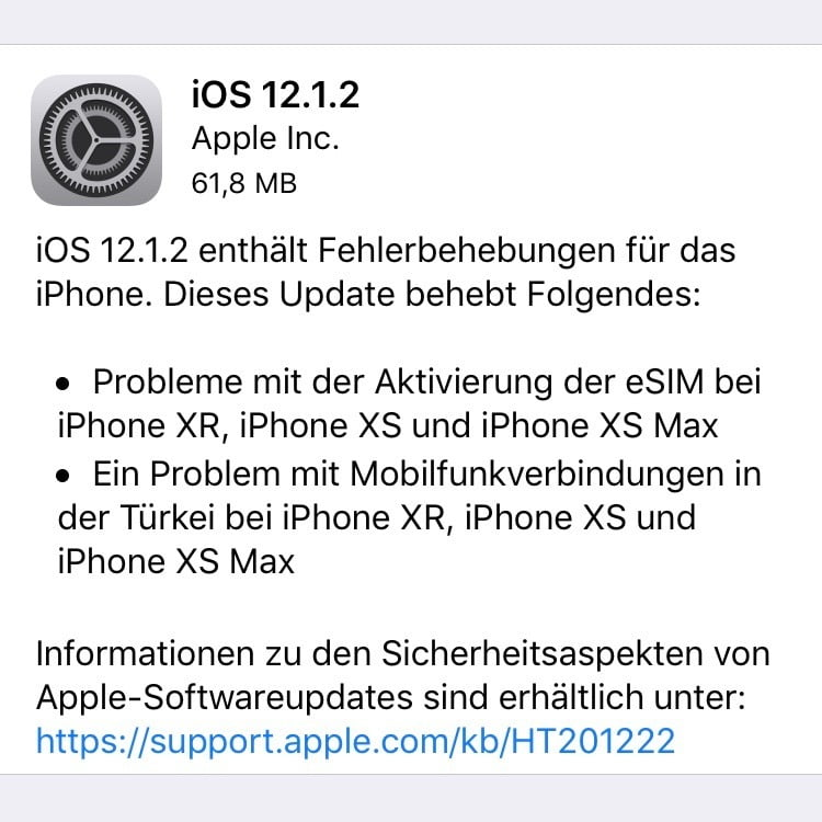iOS 12.1.2 with bug fixes for eSIM card function