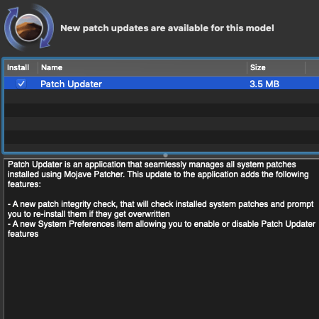 Mojave Patch Updater gets its own entry in system settings