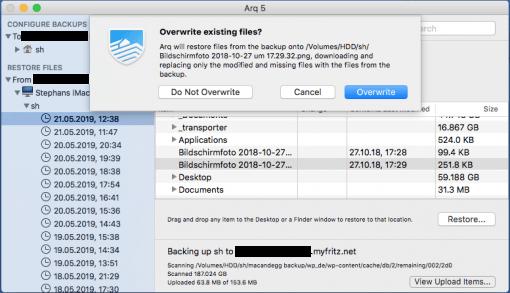 arq backup restore files