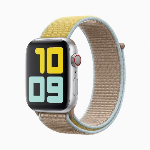Apple watch series 5 silver aluminum case camel band 091019