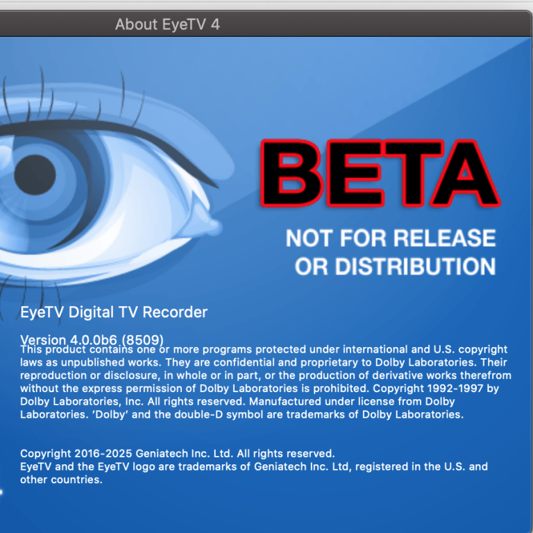 eyeTV 4 as beta version for macOS Catalina