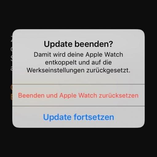 update beenden apple watch