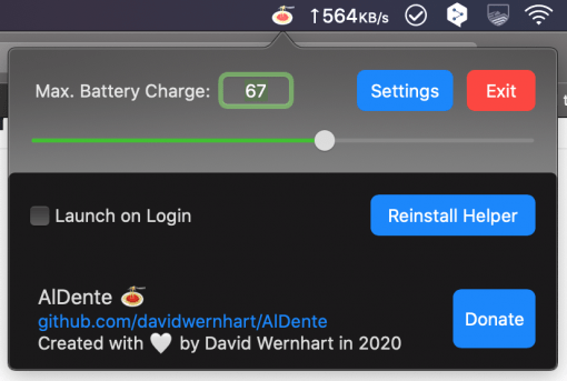 Aldente Options Limit Macbook Battery Charge