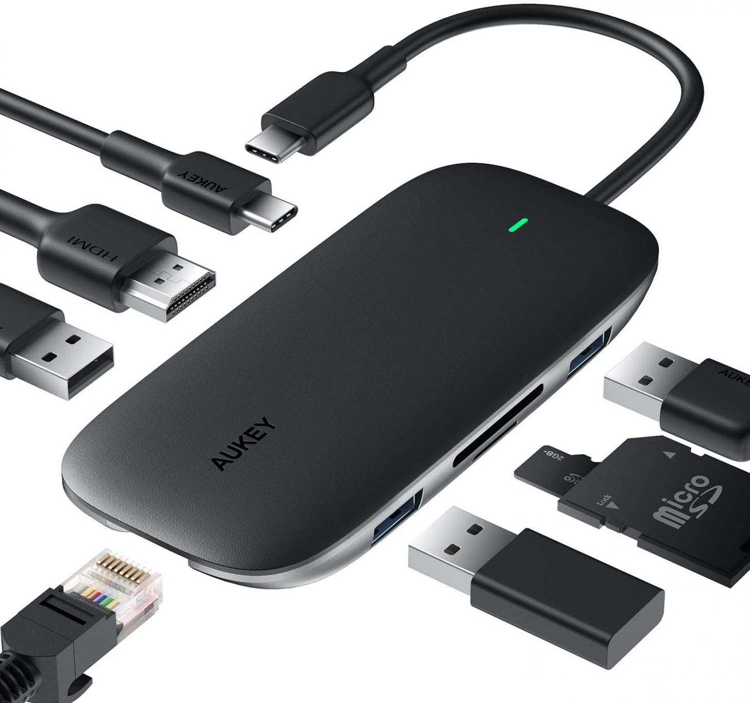 Usb C Hub Aukey 8 In 1 Type C Adapter