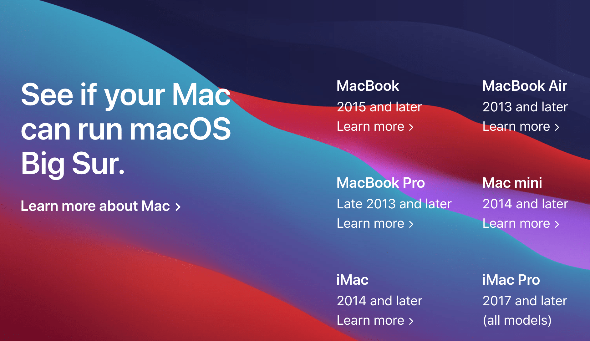 Big Sur Mac Compatibility