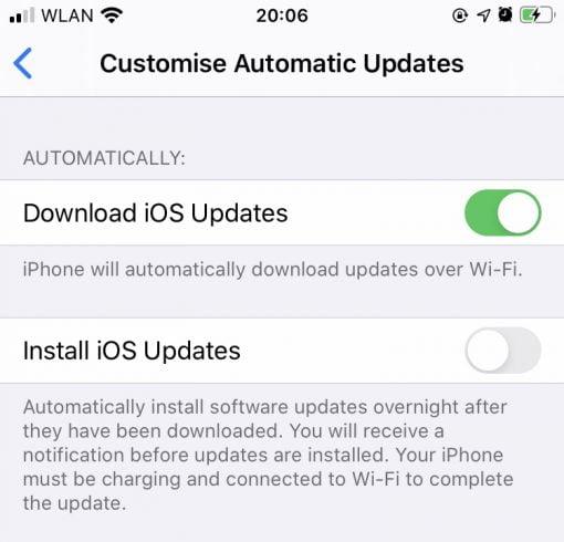 iOS 13.6 Customise Automatic Updates
