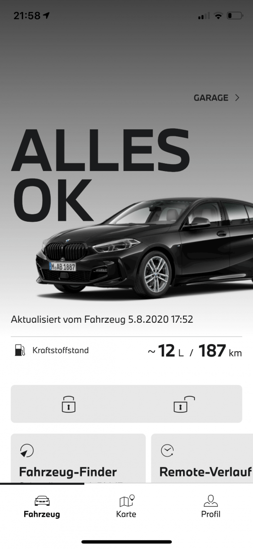 My BMW App Alles ok