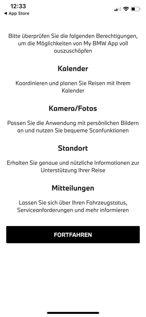 My BMW App Zugriffsrechte