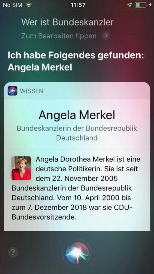 Siri iOS 13 Kanzler