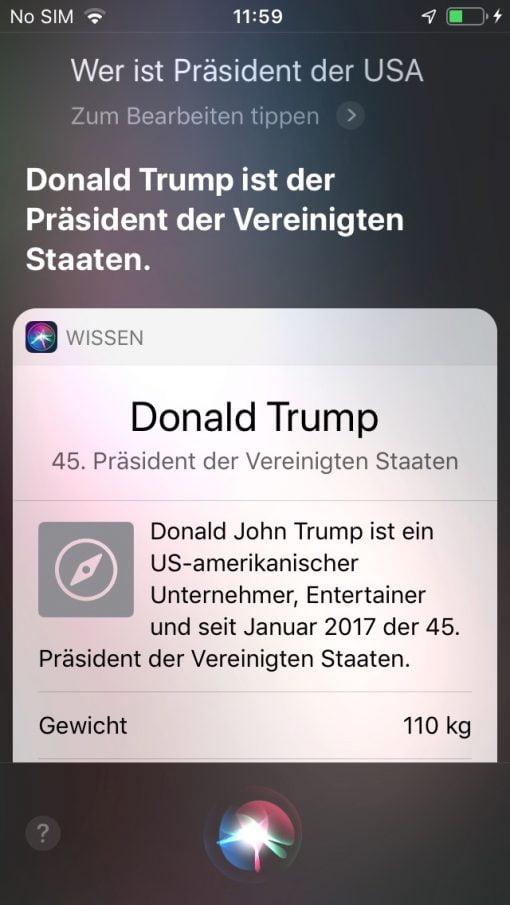 Siri iOS 13 Trump