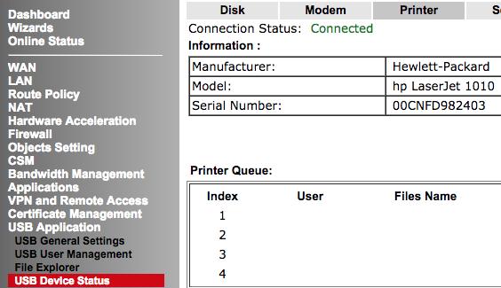 Make printer available over the network on DrayTek Vigor